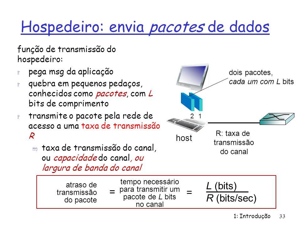 Hospedeiro: envia pacotes de dados 1: Introdução33 função de transmissão do hospedeiro: r pega msg da aplicação r quebra em pequenos pedaços, conhecid