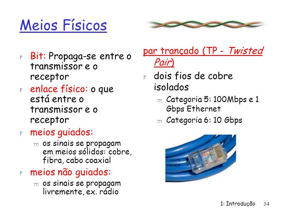 1: Introdução34 Meios Físicos r Bit: Propaga-se entre o transmissor e o receptor r enlace físico: o que está entre o transmissor e o receptor r meios
