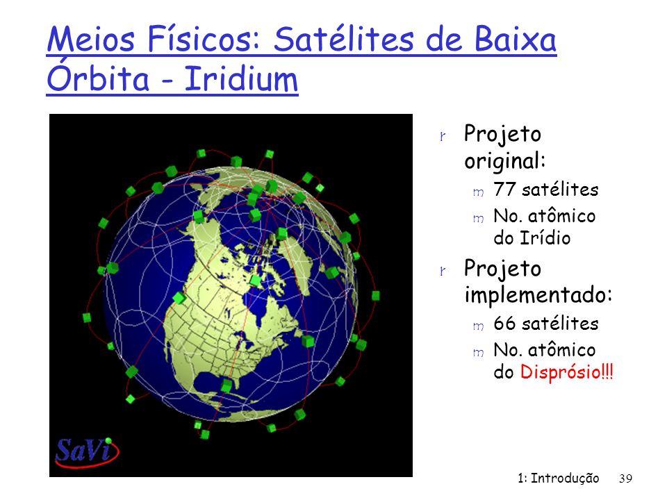 1: Introdução39 Meios Físicos: Satélites de Baixa Órbita - Iridium r Projeto original: m 77 satélites m No. atômico do Irídio r Projeto implementado: