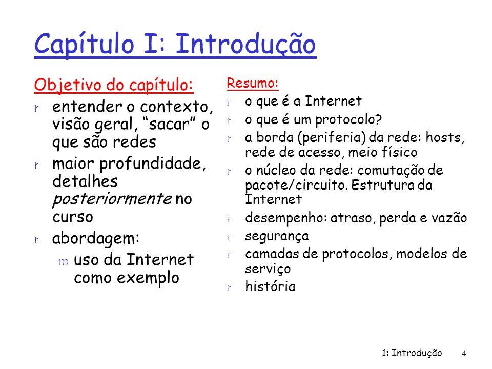 1: Introdução105 História da Internet r início dos anos 90: ARPAnet desativada r 1991: NSF remove restrições ao uso comercial da NSFnet (desativada em 1995) r início dos anos 90 : Web m hypertexto [Bush 1945, Nelson 1960s] m HTML, HTTP: Berners- Lee m 1994: Mosaic, posteriormente Netscape m fim dos anos 90: comercialização da Web Final dos anos 90-00: r novas aplicações: mensagens instantâneas, compartilhamento de arquivos P2P r preocupação com a segurança de redes r est.