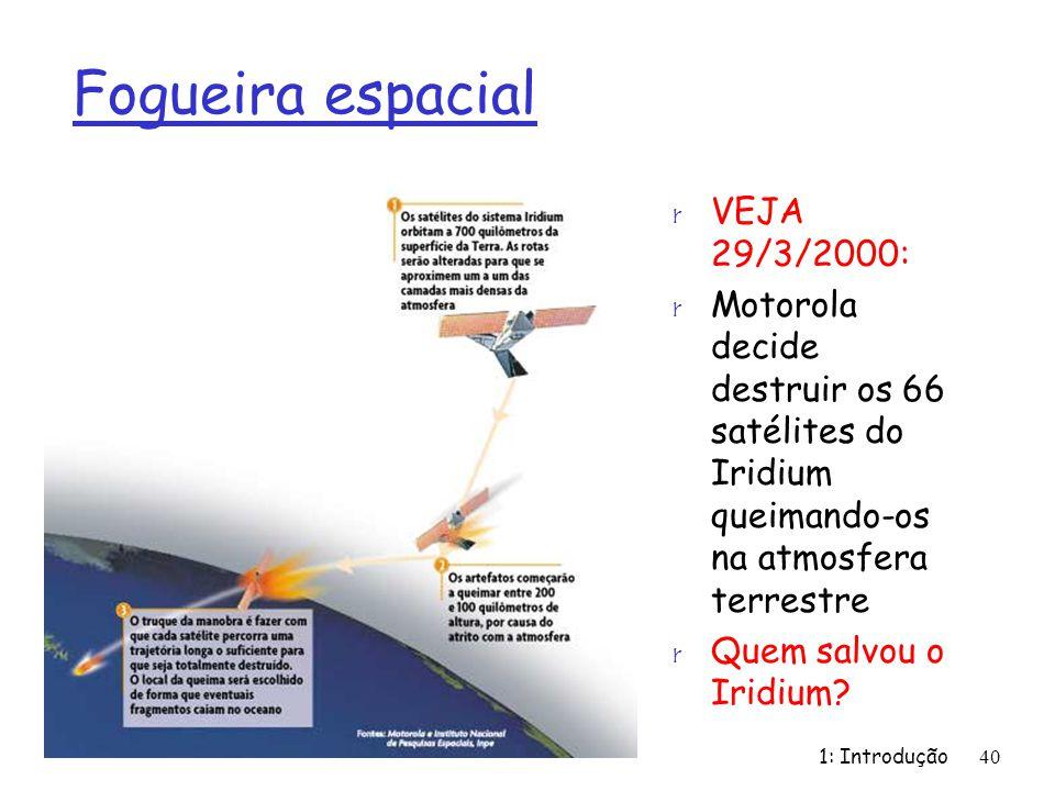 Fogueira espacial r VEJA 29/3/2000: r Motorola decide destruir os 66 satélites do Iridium queimando-os na atmosfera terrestre r Quem salvou o Iridium?