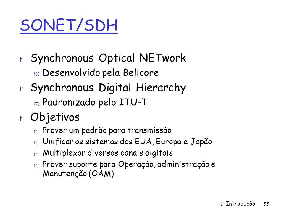 1: Introdução55 SONET/SDH r Synchronous Optical NETwork m Desenvolvido pela Bellcore r Synchronous Digital Hierarchy m Padronizado pelo ITU-T r Objeti