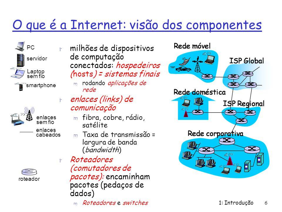 1: Introdução6 O que é a Internet: visão dos componentes r milhões de dispositivos de computação conectados: hospedeiros (hosts) = sistemas finais m r
