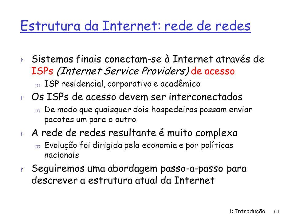 Estrutura da Internet: rede de redes r Sistemas finais conectam-se à Internet através de ISPs (Internet Service Providers) de acesso m ISP residencial