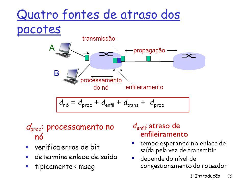 Quatro fontes de atraso dos pacotes 1: Introdução75 d proc : processamento no nó verifica erros de bit determina enlace de saída tipicamente < mseg A