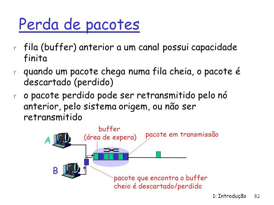 buffer (área de espera) 1: Introdução82 Perda de pacotes r fila (buffer) anterior a um canal possui capacidade finita r quando um pacote chega numa fi