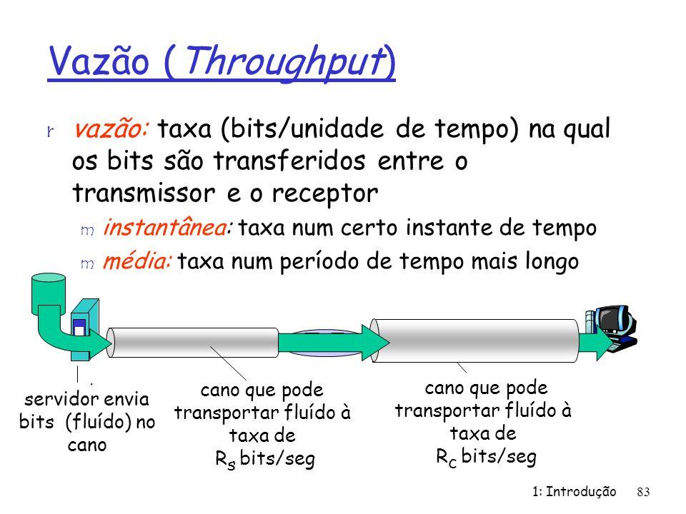 1: Introdução83 Vazão (Throughput) r vazão: taxa (bits/unidade de tempo) na qual os bits são transferidos entre o transmissor e o receptor m instantân