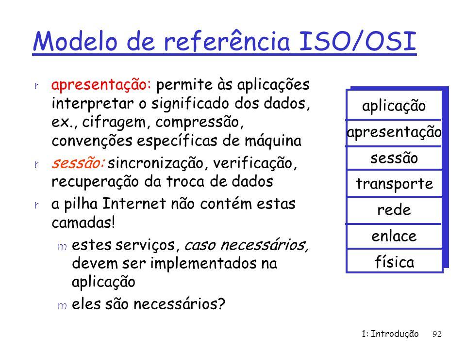1: Introdução92 Modelo de referência ISO/OSI r apresentação: permite às aplicações interpretar o significado dos dados, ex., cifragem, compressão, con