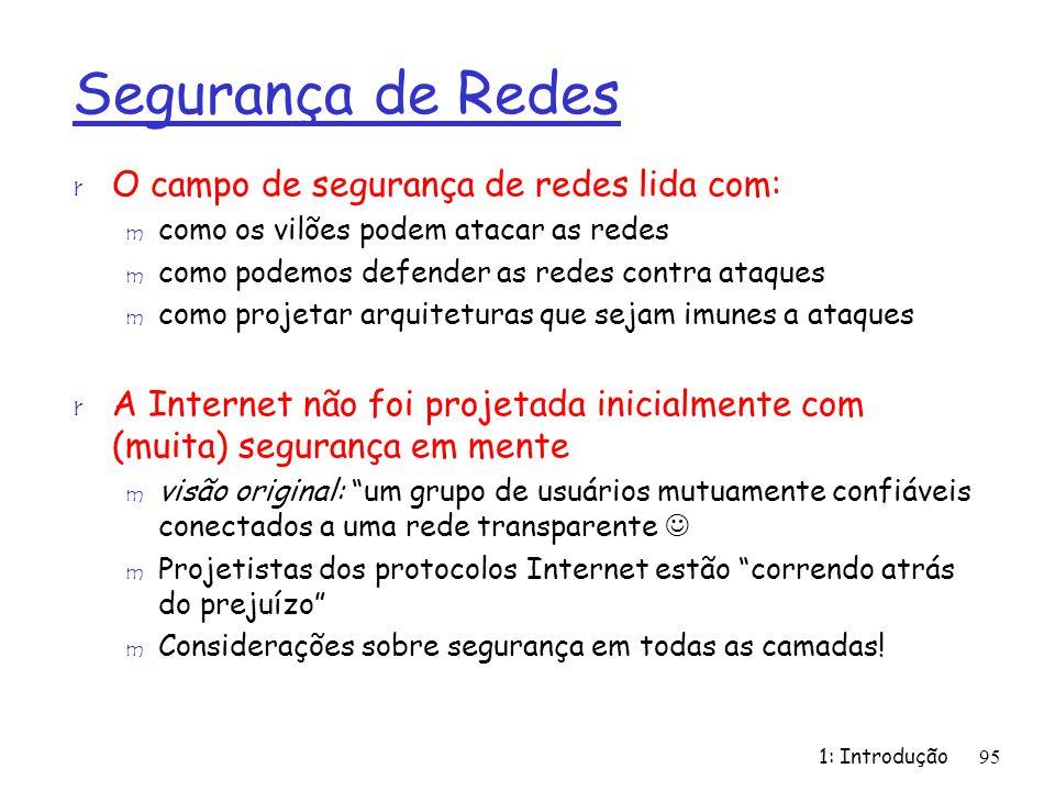1: Introdução95 Segurança de Redes r O campo de segurança de redes lida com: m como os vilões podem atacar as redes m como podemos defender as redes c