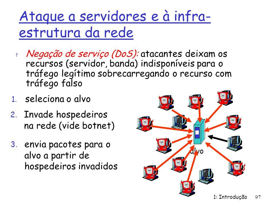 1: Introdução97 Ataque a servidores e à infra- estrutura da rede r Negação de serviço (DoS): atacantes deixam os recursos (servidor, banda) indisponív