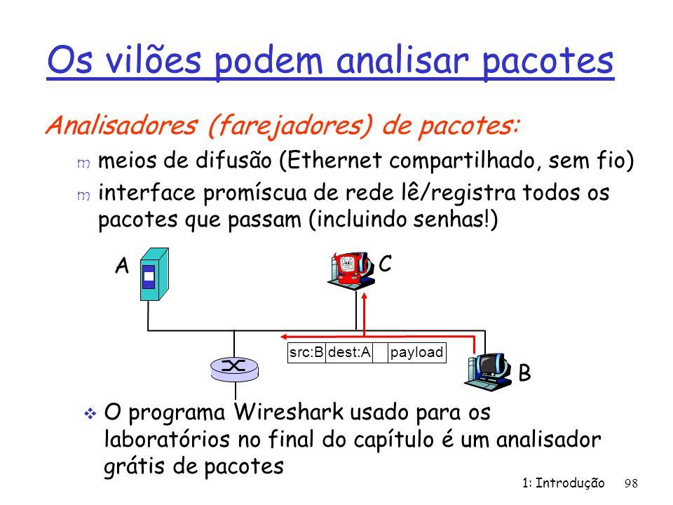1: Introdução98 Os vilões podem analisar pacotes Analisadores (farejadores) de pacotes: m meios de difusão (Ethernet compartilhado, sem fio) m interfa