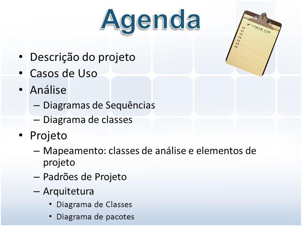 Descrição do projeto Casos de Uso Análise – Diagramas de Sequências – Diagrama de classes Projeto – Mapeamento: classes de análise e elementos de proj
