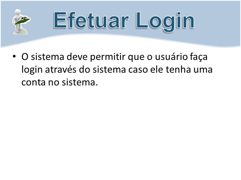 O sistema deve permitir que o usuário faça login através do sistema caso ele tenha uma conta no sistema.