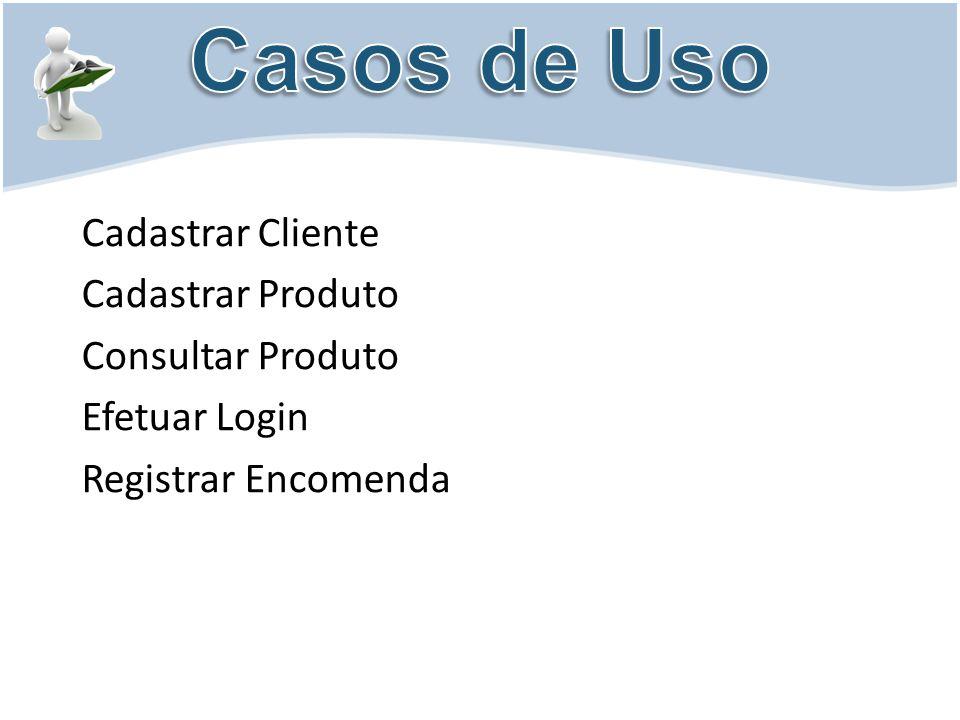 Cadastrar Cliente Cadastrar Produto Consultar Produto Efetuar Login Registrar Encomenda