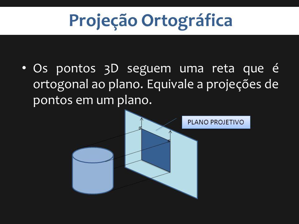 Projeção Ortográfica Os pontos 3D seguem uma reta que é ortogonal ao plano. Equivale a projeções de pontos em um plano. PLANO PROJETIVO
