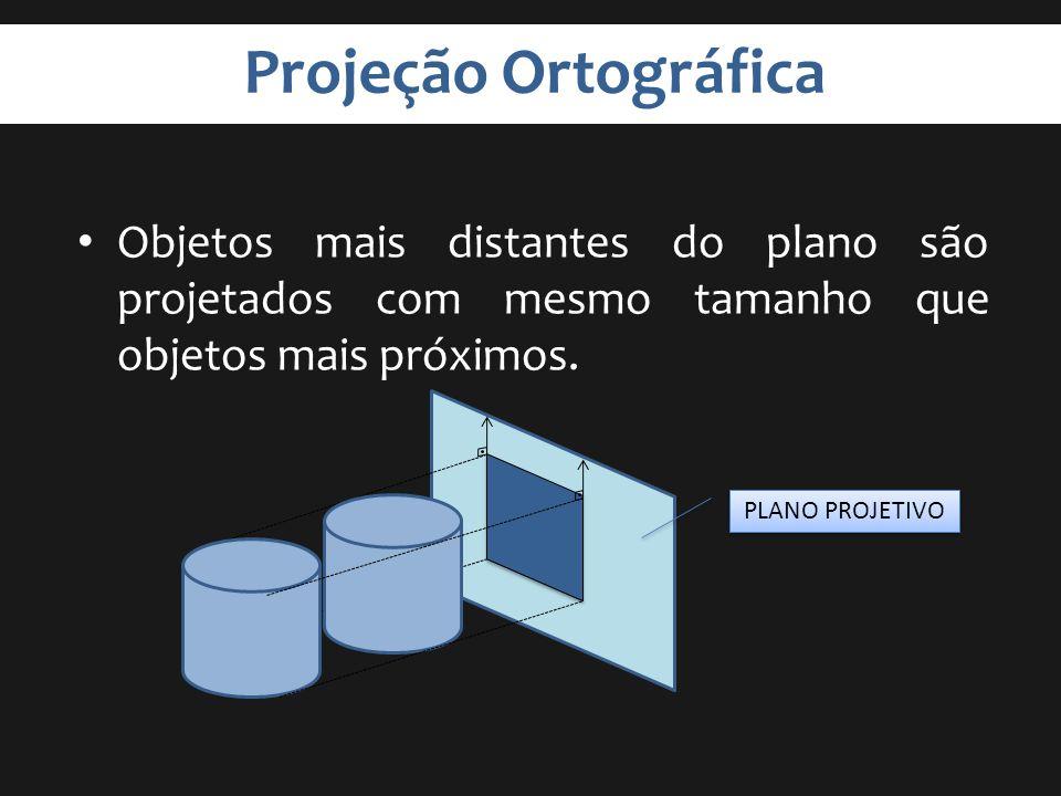 Projeção Ortográfica Objetos mais distantes do plano são projetados com mesmo tamanho que objetos mais próximos. PLANO PROJETIVO