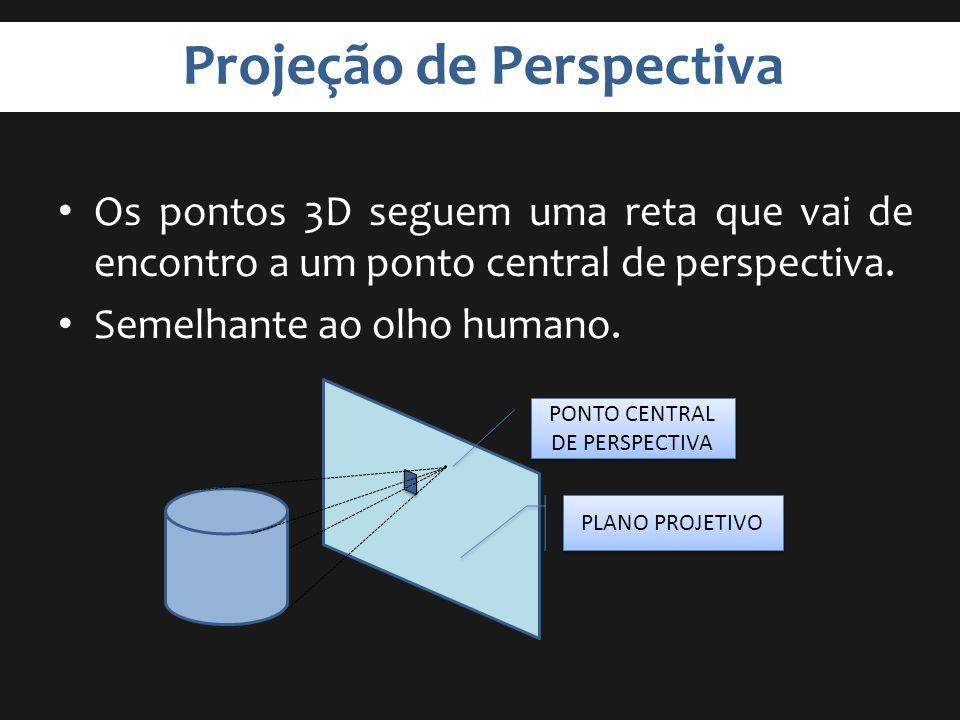 Projeção de Perspectiva Os pontos 3D seguem uma reta que vai de encontro a um ponto central de perspectiva. Semelhante ao olho humano. PLANO PROJETIVO