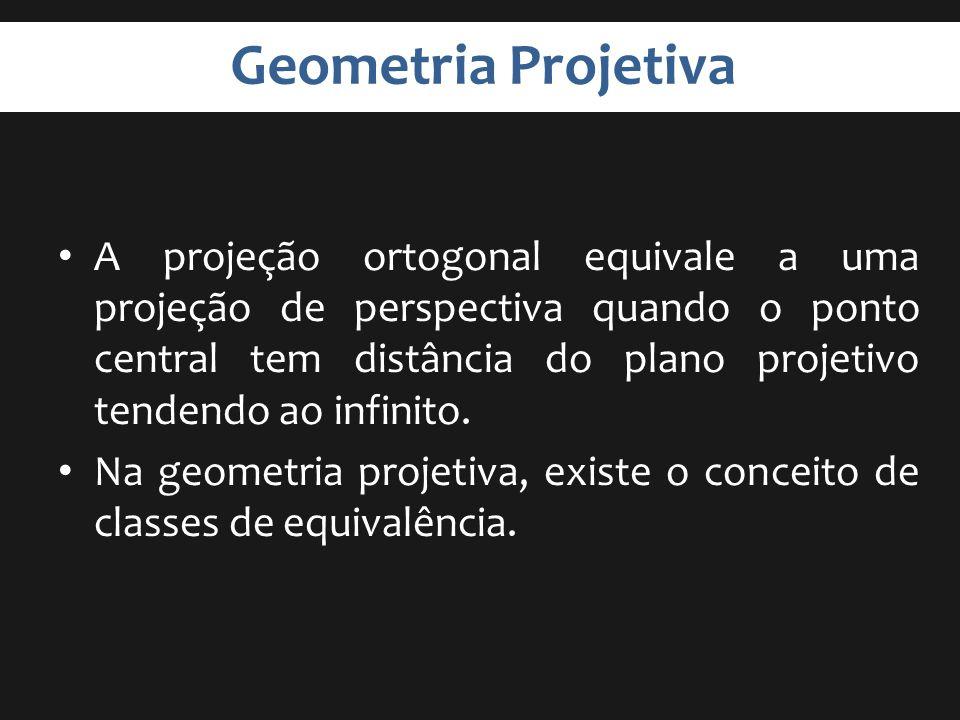 Geometria Projetiva A projeção ortogonal equivale a uma projeção de perspectiva quando o ponto central tem distância do plano projetivo tendendo ao in
