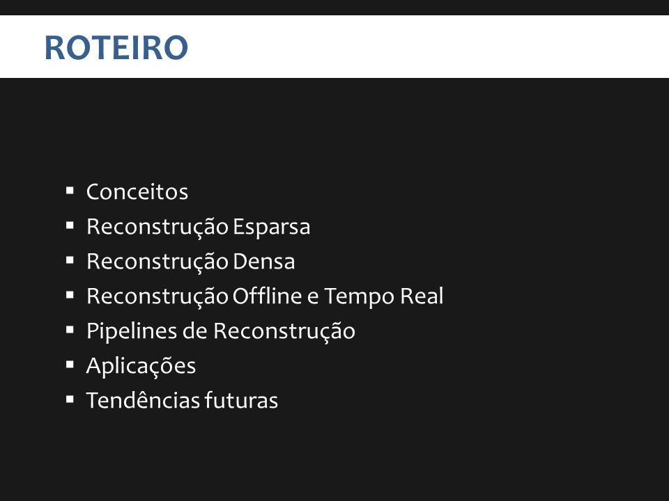 ROTEIRO Conceitos Reconstrução Esparsa Reconstrução Densa Reconstrução Offline e Tempo Real Pipelines de Reconstrução Aplicações Tendências futuras