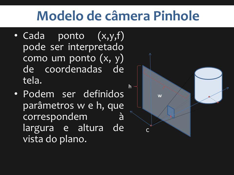 Modelo de câmera Pinhole Cada ponto (x,y,f) pode ser interpretado como um ponto (x, y) de coordenadas de tela. Podem ser definidos parâmetros w e h, q