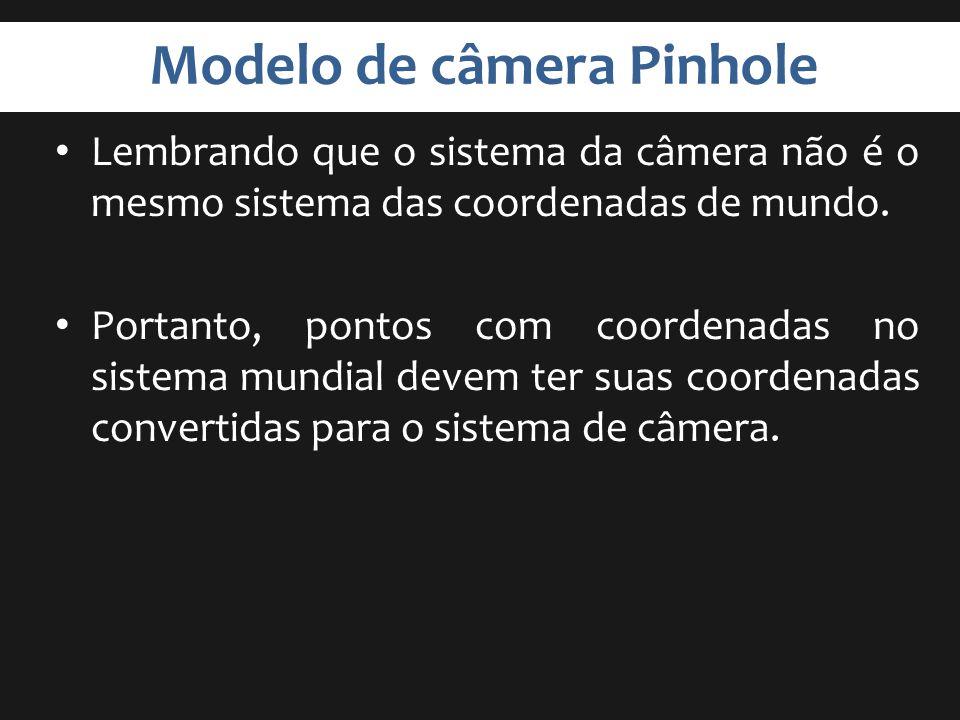 Modelo de câmera Pinhole Lembrando que o sistema da câmera não é o mesmo sistema das coordenadas de mundo. Portanto, pontos com coordenadas no sistema