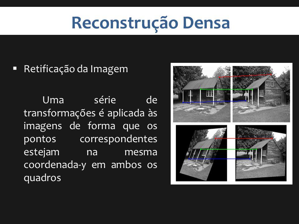 Reconstrução Densa Retificação da Imagem Uma série de transformações é aplicada às imagens de forma que os pontos correspondentes estejam na mesma coo