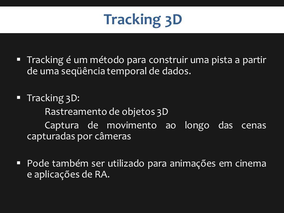 Tracking 3D Tracking é um método para construir uma pista a partir de uma seqüência temporal de dados. Tracking 3D: Rastreamento de objetos 3D Captura
