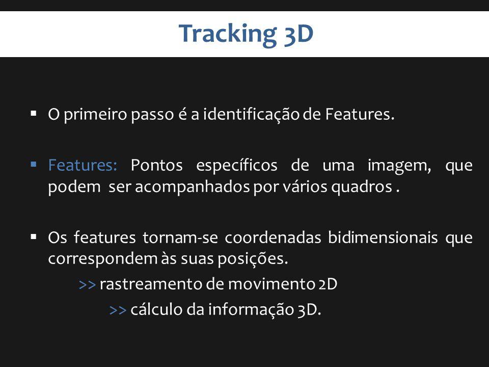 Tracking 3D O primeiro passo é a identificação de Features. Features: Pontos específicos de uma imagem, que podem ser acompanhados por vários quadros.
