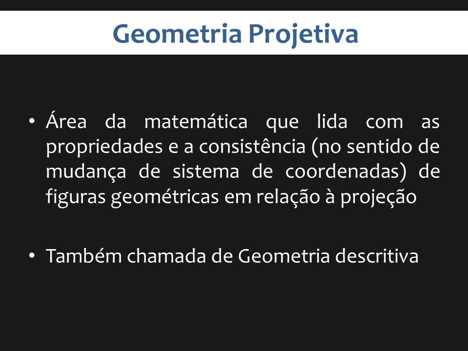 Geometria Projetiva Área da matemática que lida com as propriedades e a consistência (no sentido de mudança de sistema de coordenadas) de figuras geom