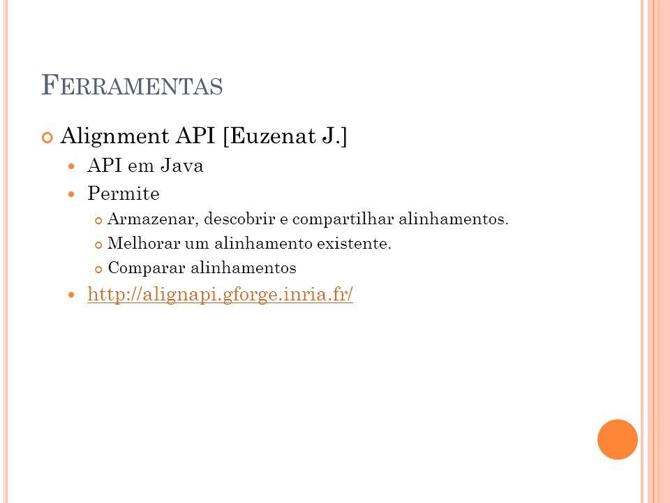 Alignment API [Euzenat J.] API em Java Permite Armazenar, descobrir e compartilhar alinhamentos.