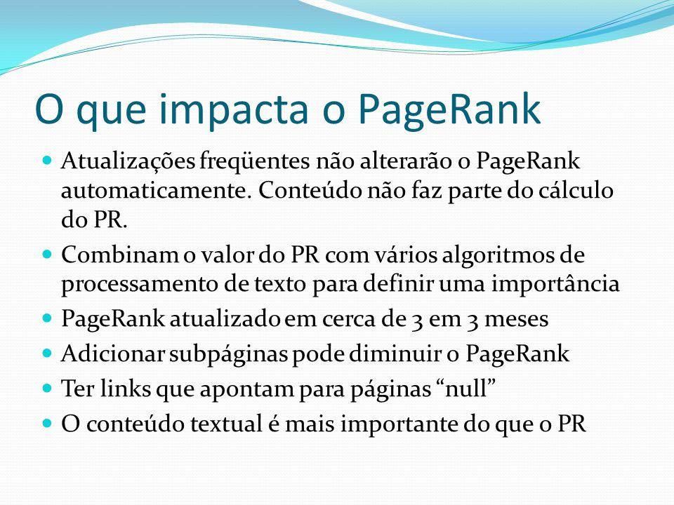 O que impacta o PageRank Atualizações freqüentes não alterarão o PageRank automaticamente. Conteúdo não faz parte do cálculo do PR. Combinam o valor d