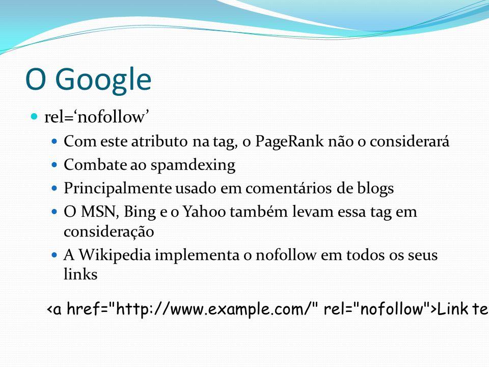 O Google rel=nofollow Com este atributo na tag, o PageRank não o considerará Combate ao spamdexing Principalmente usado em comentários de blogs O MSN,