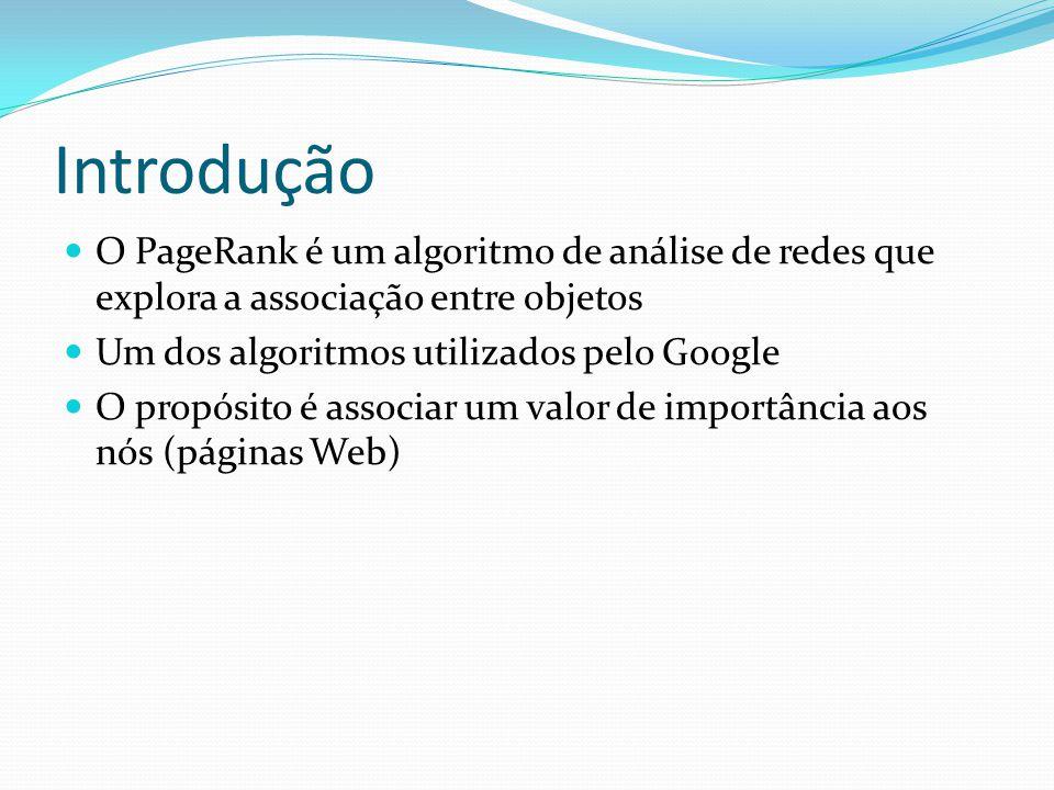 Introdução O PageRank é um algoritmo de análise de redes que explora a associação entre objetos Um dos algoritmos utilizados pelo Google O propósito é