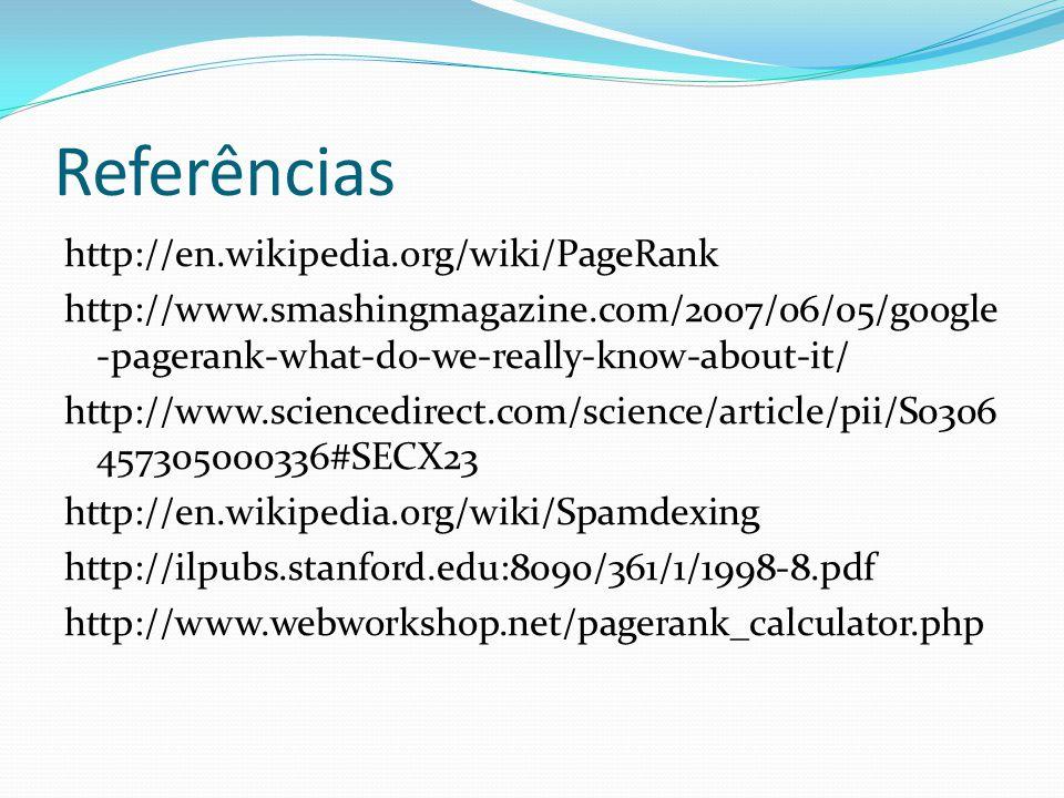Referências http://en.wikipedia.org/wiki/PageRank http://www.smashingmagazine.com/2007/06/05/google -pagerank-what-do-we-really-know-about-it/ http://