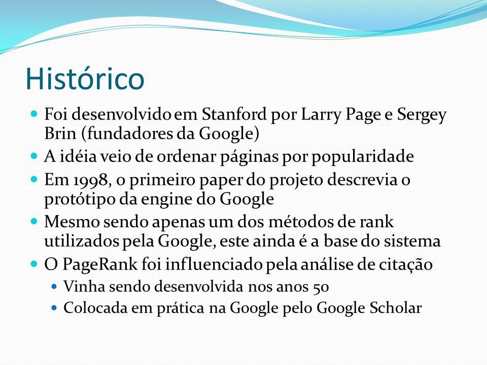 Histórico Foi desenvolvido em Stanford por Larry Page e Sergey Brin (fundadores da Google) A idéia veio de ordenar páginas por popularidade Em 1998, o