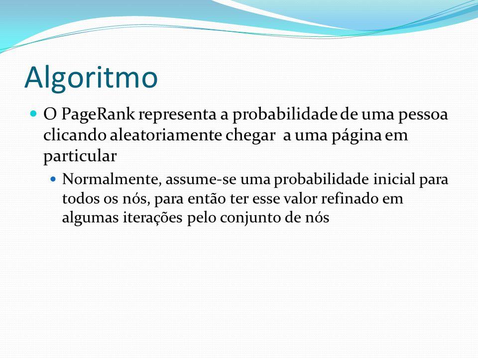 Algoritmo O PageRank representa a probabilidade de uma pessoa clicando aleatoriamente chegar a uma página em particular Normalmente, assume-se uma pro