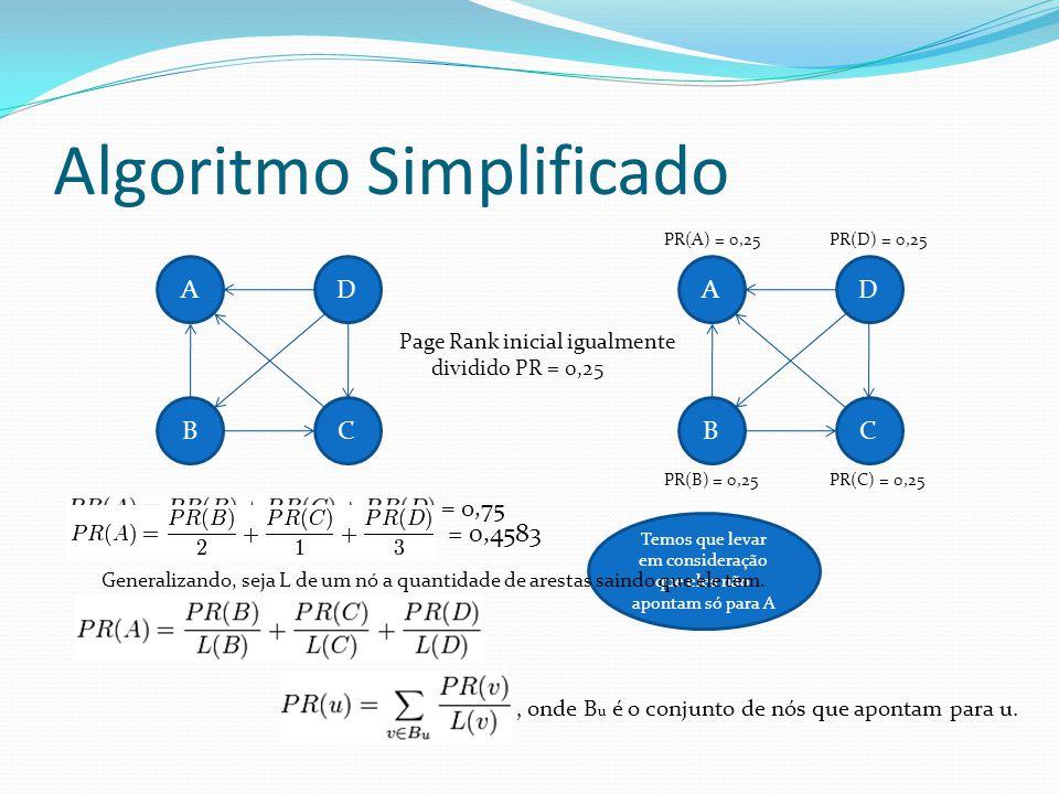 Algoritmo Simplificado Page Rank inicial igualmente dividido PR = 0,25 A BC D PR(A) = 0,25PR(D) = 0,25 PR(B) = 0,25PR(C) = 0,25 = 0,75 A BC D Temos qu