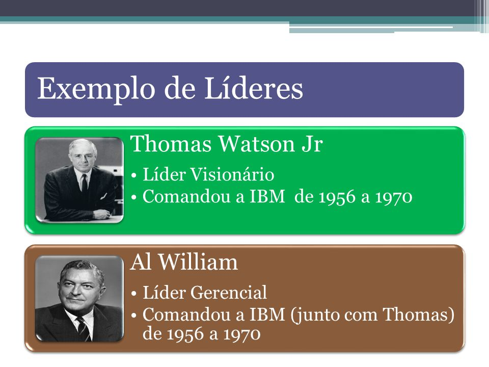 Exemplo de Líderes Thomas Watson Jr Líder Visionário Comandou a IBM de 1956 a 1970 Al William Líder Gerencial Comandou a IBM (junto com Thomas) de 1956 a 1970