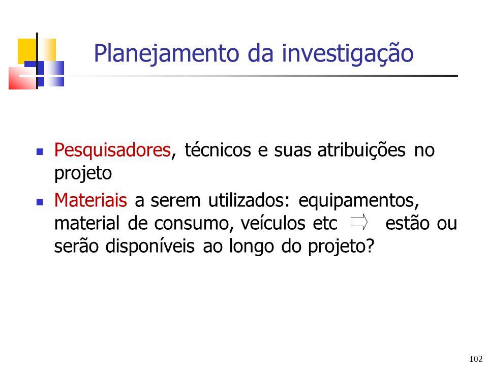 102 Planejamento da investigação Pesquisadores, técnicos e suas atribuições no projeto Materiais a serem utilizados: equipamentos, material de consumo