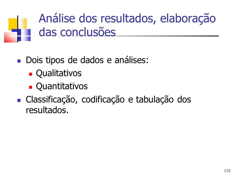 110 Análise dos resultados, elaboração das conclusões Dois tipos de dados e análises: Qualitativos Quantitativos Classificação, codificação e tabulação dos resultados.