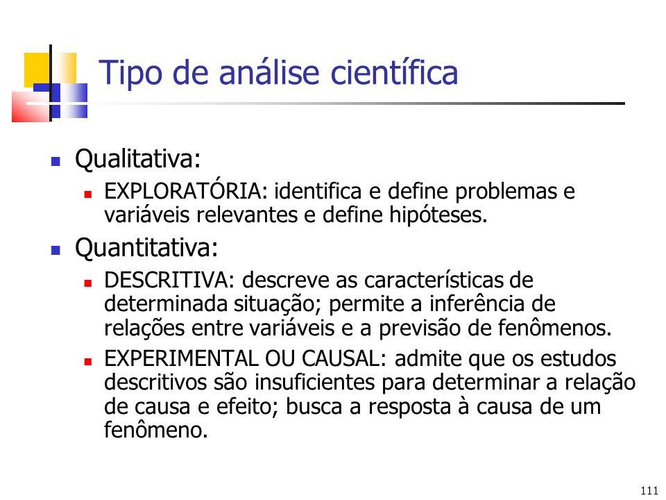 111 Tipo de análise científica Qualitativa: EXPLORATÓRIA: identifica e define problemas e variáveis relevantes e define hipóteses. Quantitativa: DESCR