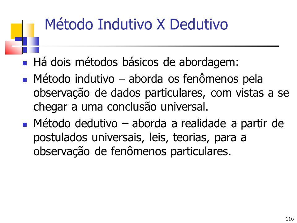 116 Método Indutivo X Dedutivo Há dois métodos básicos de abordagem: Método indutivo – aborda os fenômenos pela observação de dados particulares, com