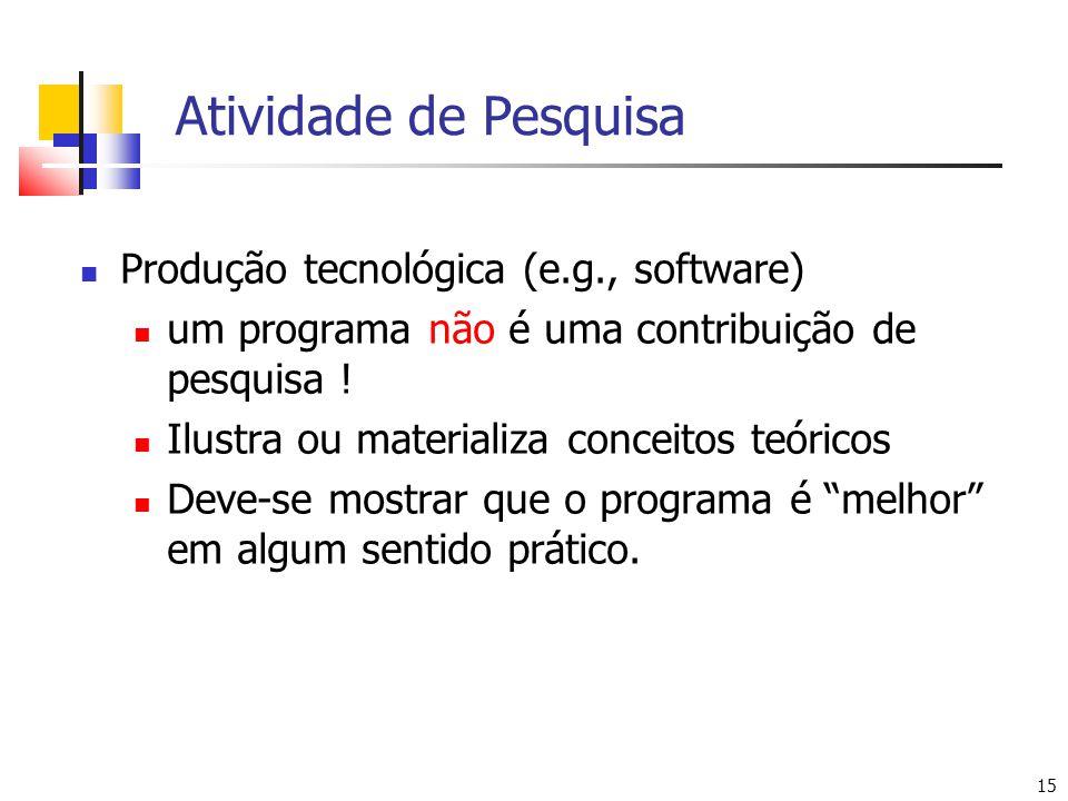 15 Atividade de Pesquisa Produção tecnológica (e.g., software) um programa não é uma contribuição de pesquisa ! Ilustra ou materializa conceitos teóri
