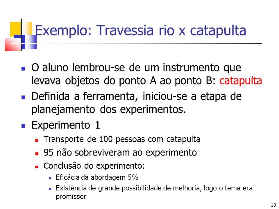 18 Exemplo: Travessia rio x catapulta O aluno lembrou-se de um instrumento que levava objetos do ponto A ao ponto B: catapulta Definida a ferramenta, iniciou-se a etapa de planejamento dos experimentos.