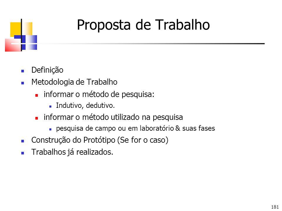 181 Proposta de Trabalho Definição Metodologia de Trabalho informar o método de pesquisa: Indutivo, dedutivo. informar o método utilizado na pesquisa