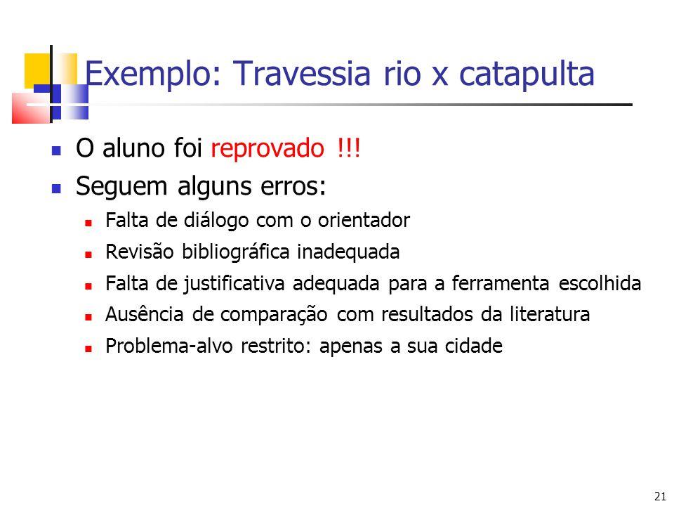 21 Exemplo: Travessia rio x catapulta O aluno foi reprovado !!! Seguem alguns erros: Falta de diálogo com o orientador Revisão bibliográfica inadequad