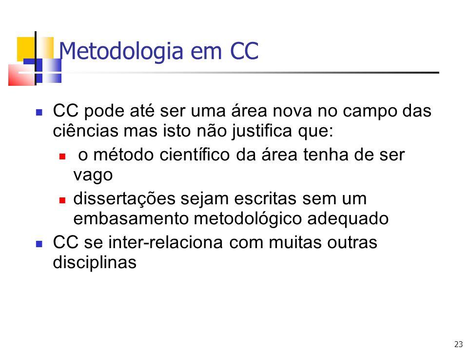 23 Metodologia em CC CC pode até ser uma área nova no campo das ciências mas isto não justifica que: o método científico da área tenha de ser vago dissertações sejam escritas sem um embasamento metodológico adequado CC se inter-relaciona com muitas outras disciplinas