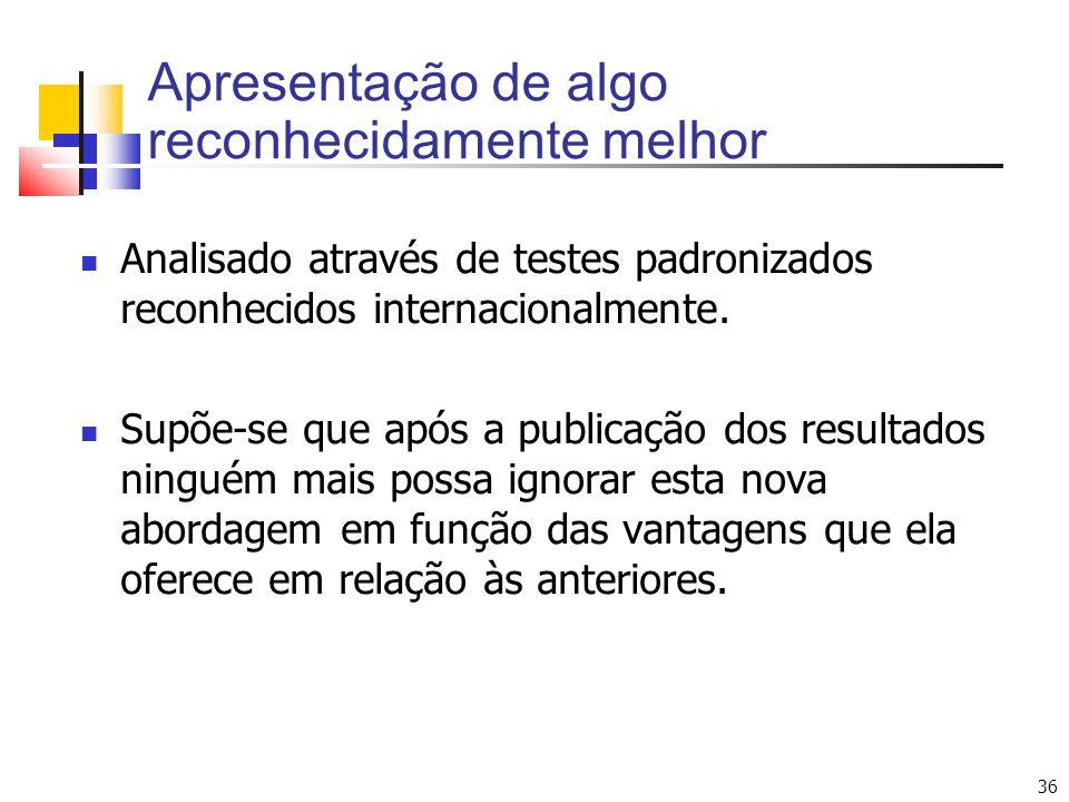 36 Analisado através de testes padronizados reconhecidos internacionalmente. Supõe-se que após a publicação dos resultados ninguém mais possa ignorar