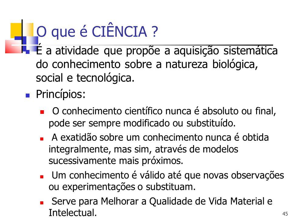 45 O que é CIÊNCIA ? É a atividade que propõe a aquisição sistemática do conhecimento sobre a natureza biológica, social e tecnológica. Princípios: O
