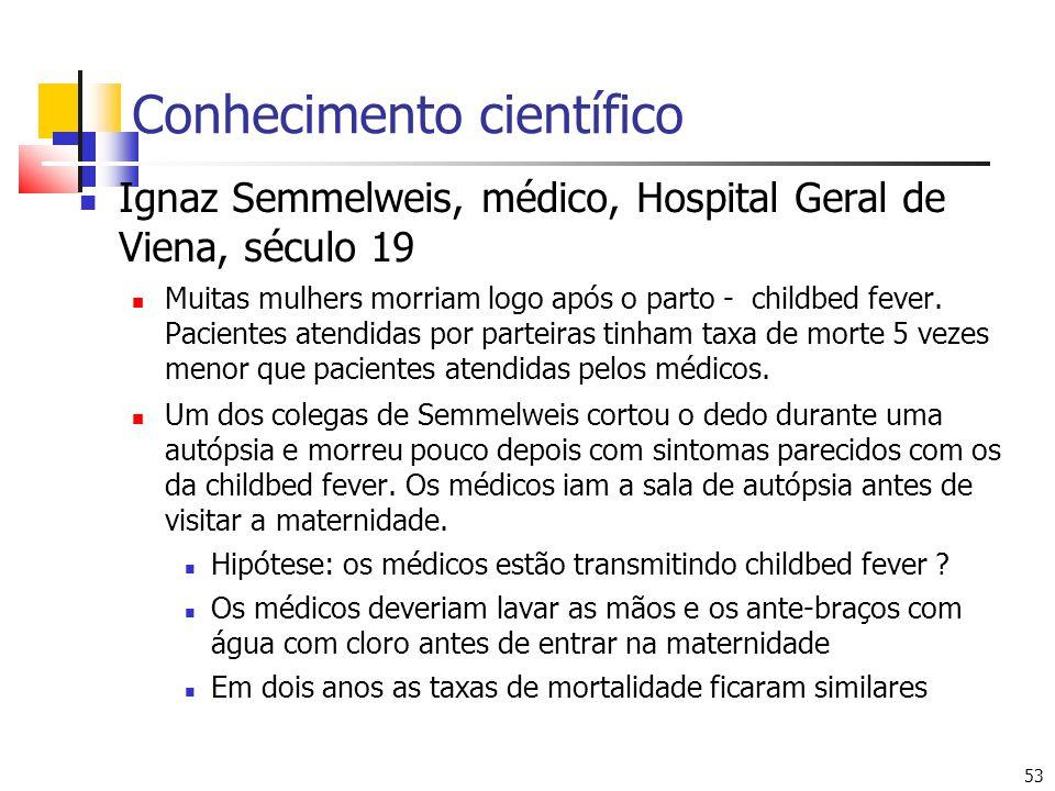53 Conhecimento científico Ignaz Semmelweis, médico, Hospital Geral de Viena, século 19 Muitas mulhers morriam logo após o parto - childbed fever. Pac